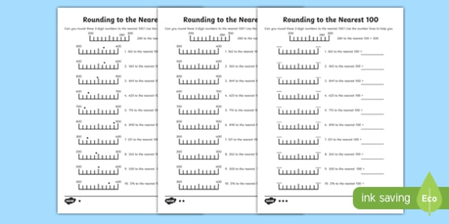 Rounding to 100 Differentiated Activity Sheet Pack-Scottish, worksheet