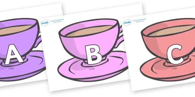 A-Z Alphabet on Cups - A-Z, A4, display, Alphabet frieze, Display letters, Letter posters, A-Z letters, Alphabet flashcards