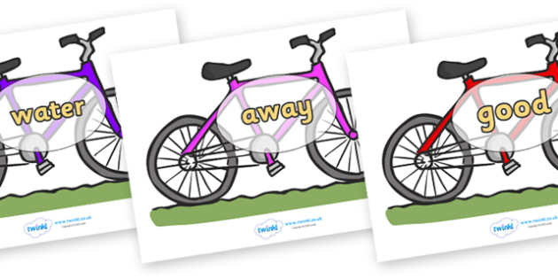 Next 200 Common Words on Bicycles - Next 200 Common Words on  - DfES Letters and Sounds, Letters and Sounds, Letters and sounds words, Common words, 200 common words