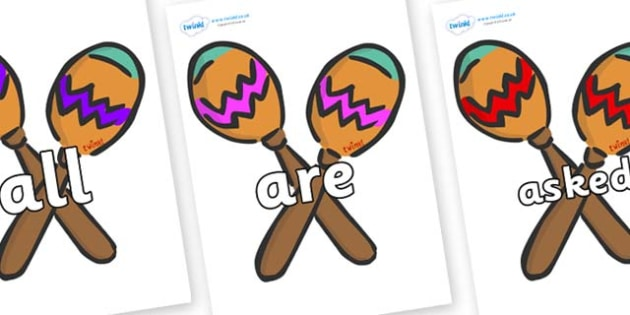 Tricky Words on Maracas - Tricky words, DfES Letters and Sounds, Letters and sounds, display, words