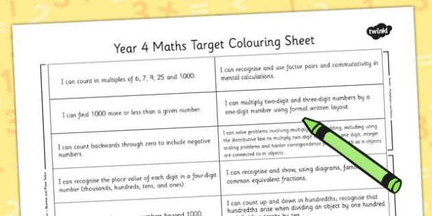 2014 Curriculum Year 4 Maths Target Colouring Sheet - numeracy