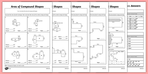Area of Composite Rectilinear Shapes Differentiated Activity Sheet Pack, worksheet