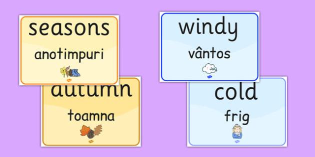 Seasons and Weather EAL Romanian Translation - romanian, season, weather, EAL