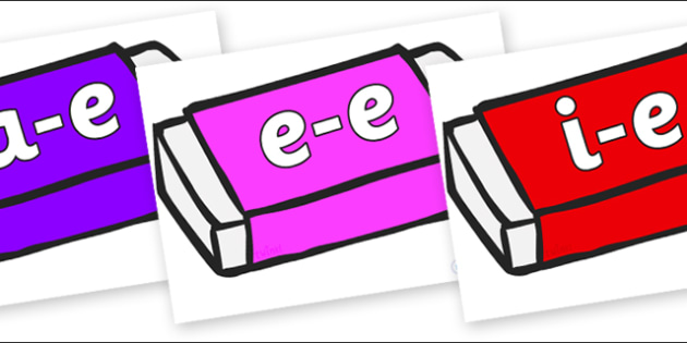 Modifying E Letters on Erasers - Modifying E, letters, modify, Phase 5, Phase five, alternative spellings for phonemes, DfES letters and Sounds