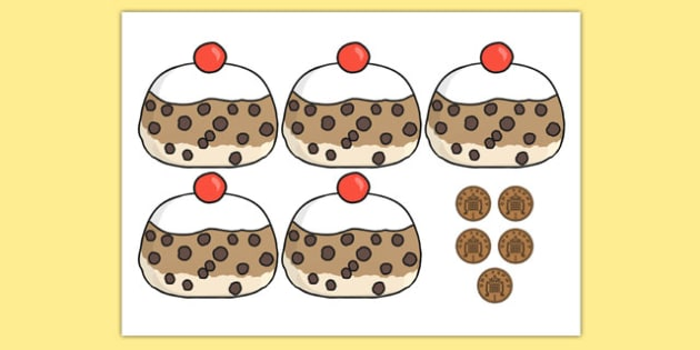 5 Currant Buns Cut Outs - Number rhyme, subtraction, currant bun, cut out, buns, currant, nursery rhyme, numeracy, numbers, counting, foundation stage numeracy
