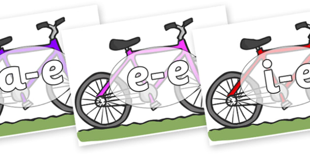 Modifying E Letters on Bikes - Modifying E, letters, modify, Phase 5, Phase five, alternative spellings for phonemes, DfES letters and Sounds