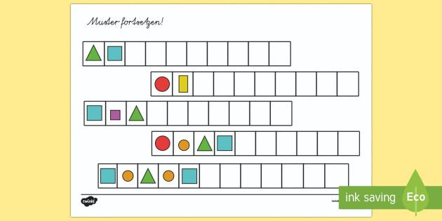 Geometrische Muster zum Fortsetzen Arbeitsblatt - Geometrie, Flächen, 2D, Ebene Figuren, Muster, Musterfolge, Muster fortsetzen, geometrische Muster,