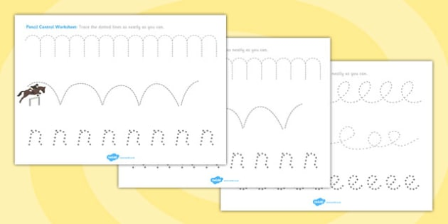 Horses and Ponies Themed Pencil Control Worksheets - horses, ponies