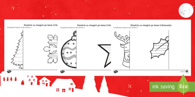 Simetrie cu imagini pe tema Crăciunului   Fișe  - matematică, simetrie, română, crăciun, forme, figuri, romanian