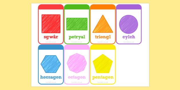 2D Shapes Flashcards Welsh - 2d, shapes, flashcards, welsh, cards