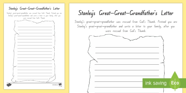 Stanley's Great-Great-Grandfather's Letter Activity Sheet - New Zealand Chapter Chat, Chapter Chat NZ, Chapter Chat, Holes, Years 5-6, Stanley, Letter, God's T