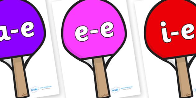 Modifying E Letters on Table Tennis Bats - Modifying E, letters, modify, Phase 5, Phase five, alternative spellings for phonemes, DfES letters and Sounds