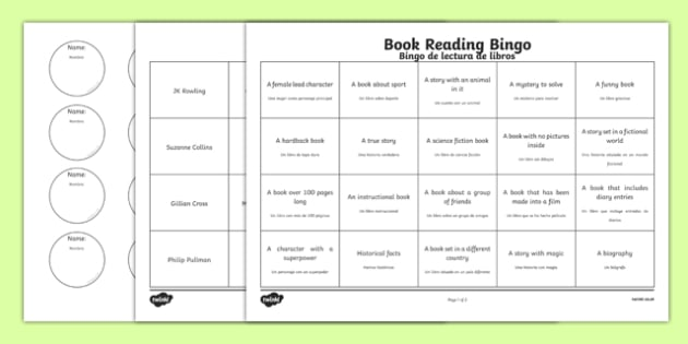 Book Reading Bingo Activity Sheets Spanish Translation--translation, worksheet