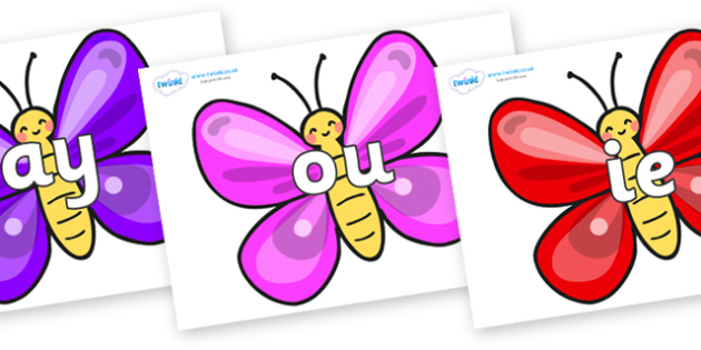 Phase 5 Phonemes on Butterflies - Phonemes, phoneme, Phase 5, Phase five, Foundation, Literacy, Letters and Sounds, DfES, display