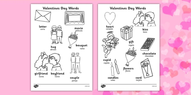 Valentine's Day Words Colouring Sheet Spanish Translation - spanish, valentines, colouring