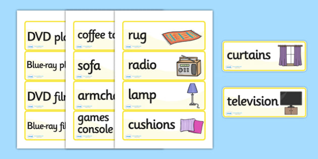 Lounge Word Cards, house, lounge, Word cards, flashcards, rooms