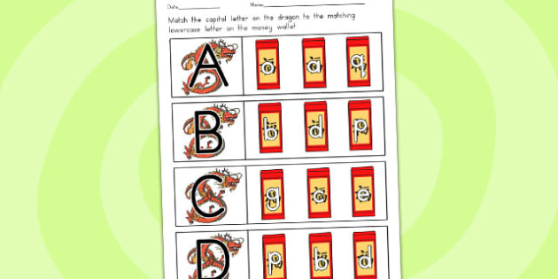 Chinese New Year Capital Letter Matching Worksheet - australia