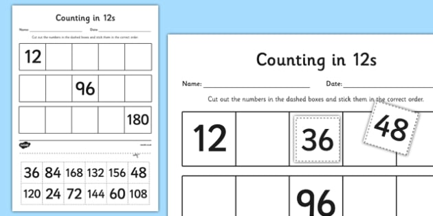 Counting in 12s Cut and Stick Activity Sheet - counting, count, cut and stick, activity, 12s, worksheet
