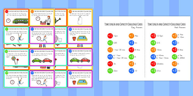 Time Length and Capacity Problem Solving Challenge Cards - australia