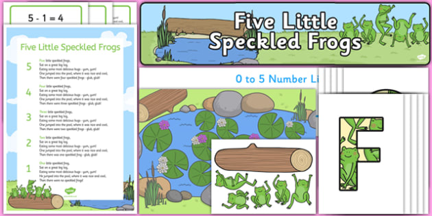Five Little Speckled Frogs Ready Made Display Pack - five, speckled, frogs, ready made, display pack