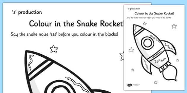 s Sound Production Snake Rocket Colouring Sheet - s sound, s, sound production, colouring sheet, colouring, colours, colour in, themed colouring sheet
