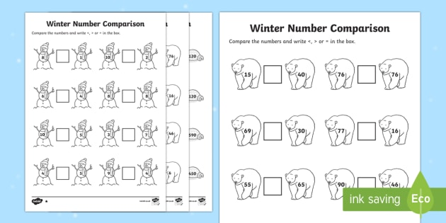 Winter Themed Differentiated Number Comparison Activity Sheet