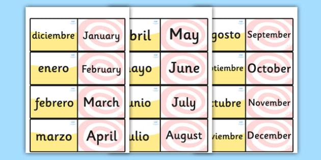 Spanish Months of the Year Loop Cards - Spain, visual, loop card