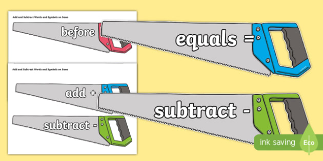Addition and Subtraction Symbols and Words on Saws - cfe, curriculum for excellence, addition, subtraction, symbols, words, saw, display