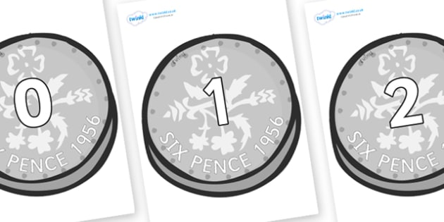 Numbers 0-31 on Sixpence - 0-31, foundation stage numeracy, Number recognition, Number flashcards, counting, number frieze, Display numbers, number posters