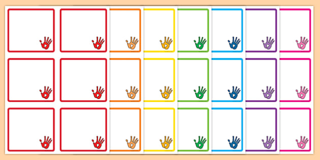 Handprint Themed Square Peg Labels