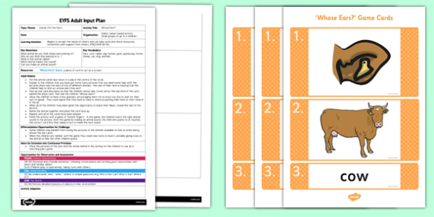 Whose Ears EYFS Adult Input Plan and Resource Pack - EYFS, Early Years planning, adult led, Easter, farm, animals, turn taking