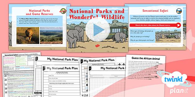 PlanIt - Geography Year 2 - Sensational Safari Lesson 3: National Parks and Wildlife Lesson  - planit, geography, safari, year 2