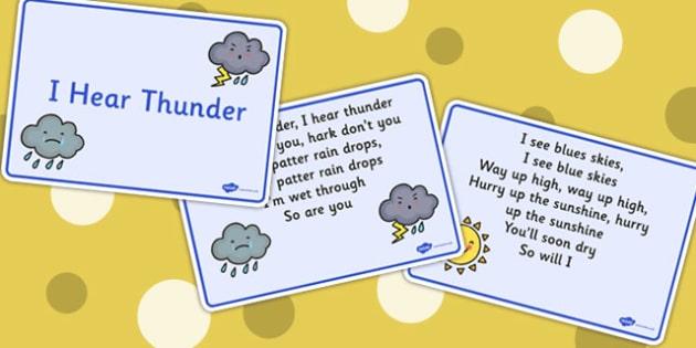 I Hear Thunder Story Sequencing Cards - story, I hear thunder