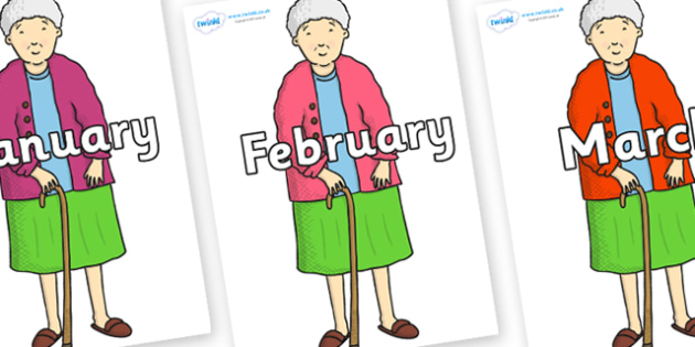 Months of the Year on Harry's Nan to Support Teaching on Harry and the Bucketful of Dinosaurs - Months of the Year, Months poster, Months display, display, poster, frieze, Months, month, January, February, March, April, May, June, July, August, Septe