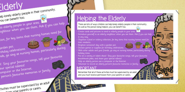 Helping the Elderly in Our Community Display Poster - helping, elderly, community, display, poster