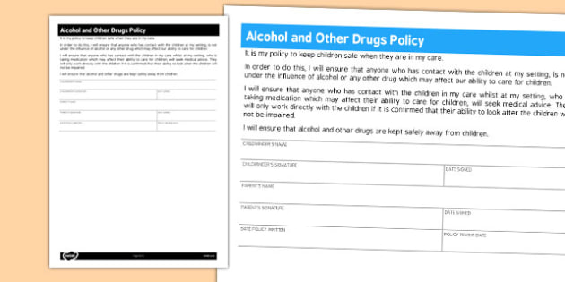 Alcohol and Other Drugs Policy for Childminders - childminders