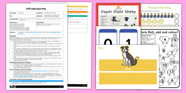 EYFS Sheepdog Counting Activity Adult Input Plan and Resource Pack - farm, animals, maths, number, counting, actions, dog, sheep, farmer, game, claps, counting claps