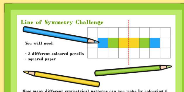A4 KS1 Line of Symmetry Maths Challenge Poster - Symmetry, Line