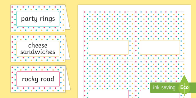 Spotty Themed Party Food Labels