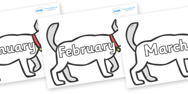 Months of the Year on White Dog to Support Teaching on Brown Bear, Brown Bear - Months of the Year, Months poster, Months display, display, poster, frieze, Months, month, January, February, March, April, May, June, July, August, September