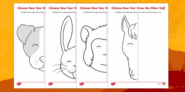 Chinese New Year Story Animals Draw the Other Half Activity Sheet