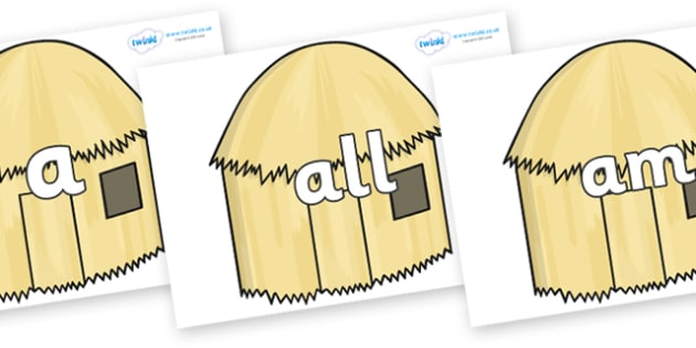 Foundation Stage 2 Keywords on Straw houses - FS2, CLL, keywords, Communication language and literacy,  Display, Key words, high frequency words, foundation stage literacy, DfES Letters and Sounds, Letters and Sounds, spelling