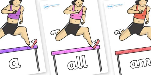 Foundation Stage 2 Keywords on Olympic Hurdles - FS2, CLL, keywords, Communication language and literacy,  Display, Key words, high frequency words, foundation stage literacy, DfES Letters and Sounds, Letters and Sounds, spelling