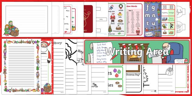 Christmas Writing Area Resource Pack - Christmas, Nativity, Jesus, xmas, Xmas, Father Christmas, Santa, letter to santa, Christmas display