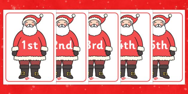 Ordinal Numbers on Santas - ordinal, number, santa, activity, numbers