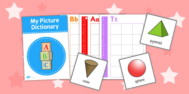 3D Shape Picture Dictionary Word Cards - dictionary, word, cards