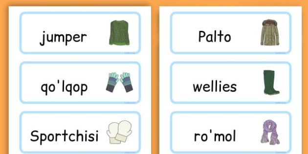 Winter Clothes Word Cards - winter clothes, word cards, winter, clothes - Uzbek