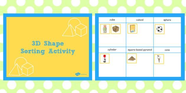 3D Shape Sorting Activity Flipchart - 3d shape, sorting, activity