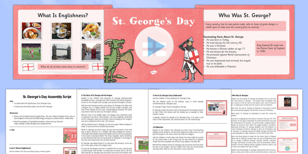 KS2 St George's Day Assembly Pack - St George's Day, dragon, knight, England