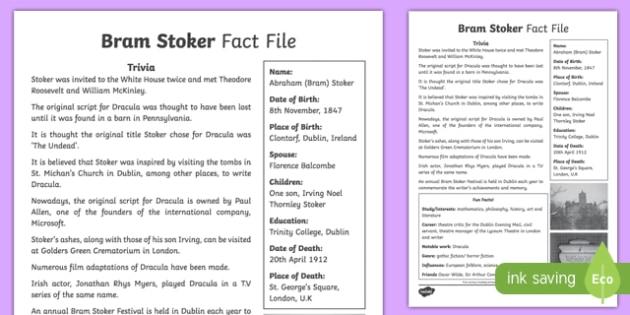 Bram Stoker 5th and 6th Class Fact File-Irish